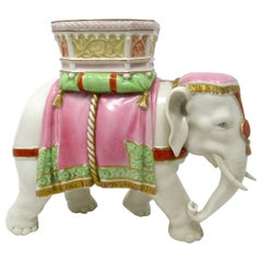 Antique Royal Worcester Kerr Binns English Porcelain Elephant Vase Pink Gilt