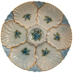 "Antique ""R.S. Prussia"" German Hand Painted Porcelain Oyster Plate"