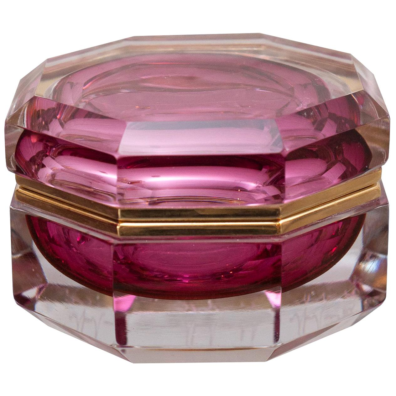 Antique Ruby and Clear Crystal Box with Bronze Mount