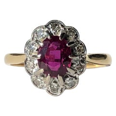 Antique Ruby and Diamond 18 Carat Gold Cluster Ring