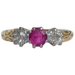 Antique Ruby and Diamond 18 Carat Gold Three-Stone Ring