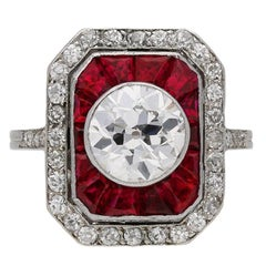 Antique ruby and diamond cluster ring, circa 1911.