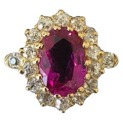 Antique Ruby and Diamond Cluster with a 2 Carat Certificated Burma Ruby