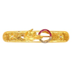 Antique Ruby and Diamond Fox Gold Bar Brooch Pin Estate Fine Jewelry