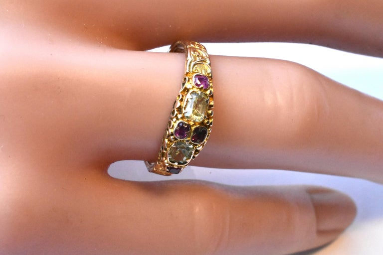 Antique Ruby and Chrysoberyl 15K Gold Ring For Sale 6
