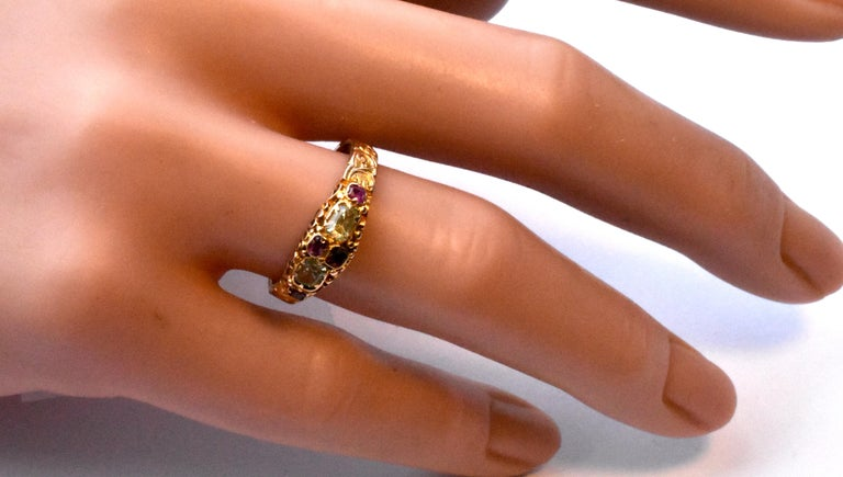 Antique Ruby and Chrysoberyl 15K Gold Ring For Sale 7