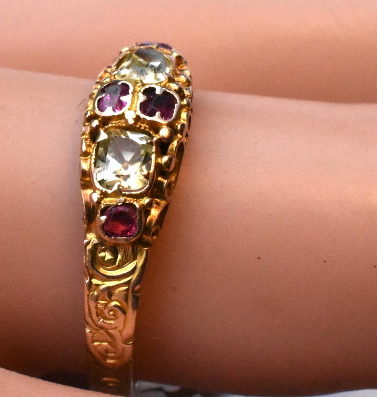 Antique Ruby and Chrysoberyl 15K Gold Ring For Sale 1