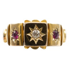 Antique Ruby and Diamond Gypsy Ring 18 Karat Yellow Gold Hallmarked Chester 1901