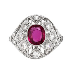 Antique Ruby and Diamond Platinum Dome Cluster Cocktail Ring, Circa 1920's