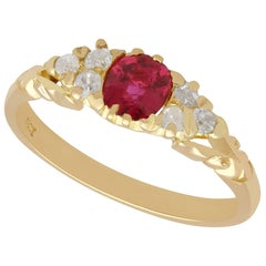 Antique Ruby and Diamond Yellow Gold Cocktail Ring, circa 1910