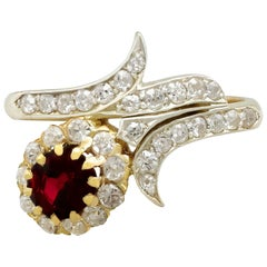 Antique Ruby and Diamond Yellow Gold Twist Ring