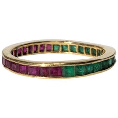 Antique Ruby and Emerald 18 Carat Gold Day and Night Eternity Ring