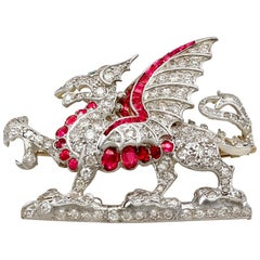 Antique Ruby and Emerald 2.43 Carat Diamond and Yellow Gold Dragon Brooch