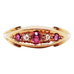 Antique Ruby and Old Cut Diamond 18 Carat Yellow Gold Five-Stone Ring, 1911