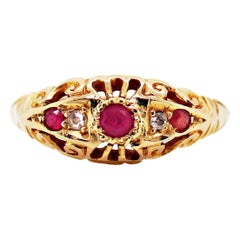 Antique Ruby and Old Cut Diamond 18 Carat Yellow Gold Ring, 1918