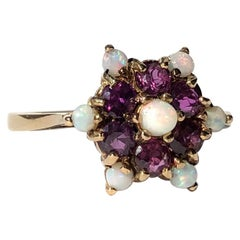 Antique Ruby and Opal 9 Carat Gold Cluster Ring