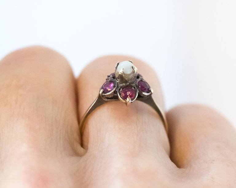Antique Ruby and Pearl 18 Karat Yellow Gold Floral Ring For Sale 3
