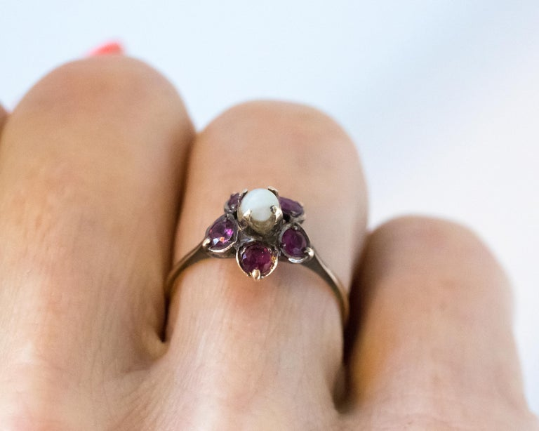 Antique Ruby and Pearl 18 Karat Yellow Gold Floral Ring For Sale 5