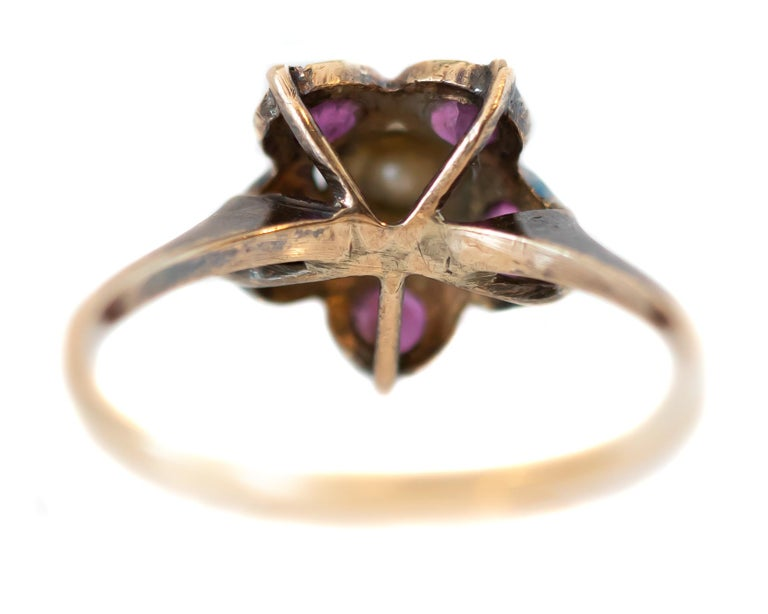 Victorian Antique Ruby and Pearl 18 Karat Yellow Gold Floral Ring For Sale