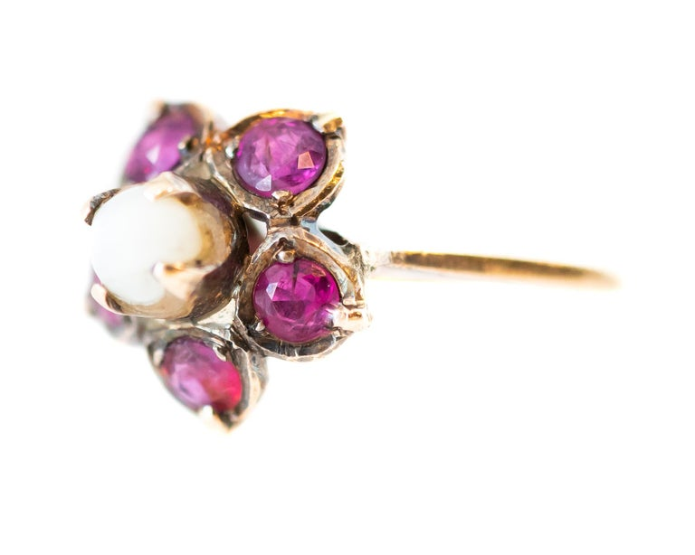 Round Cut Antique Ruby and Pearl 18 Karat Yellow Gold Floral Ring For Sale