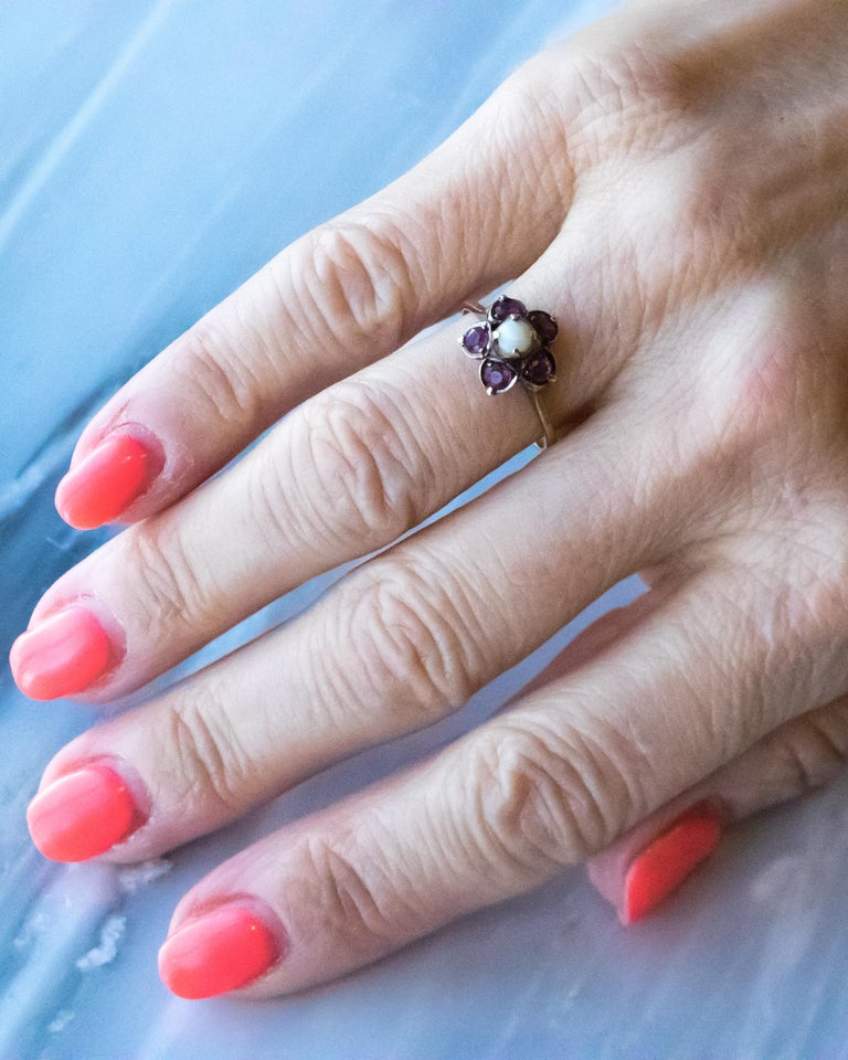 Antique Ruby and Pearl 18 Karat Yellow Gold Floral Ring For Sale 1