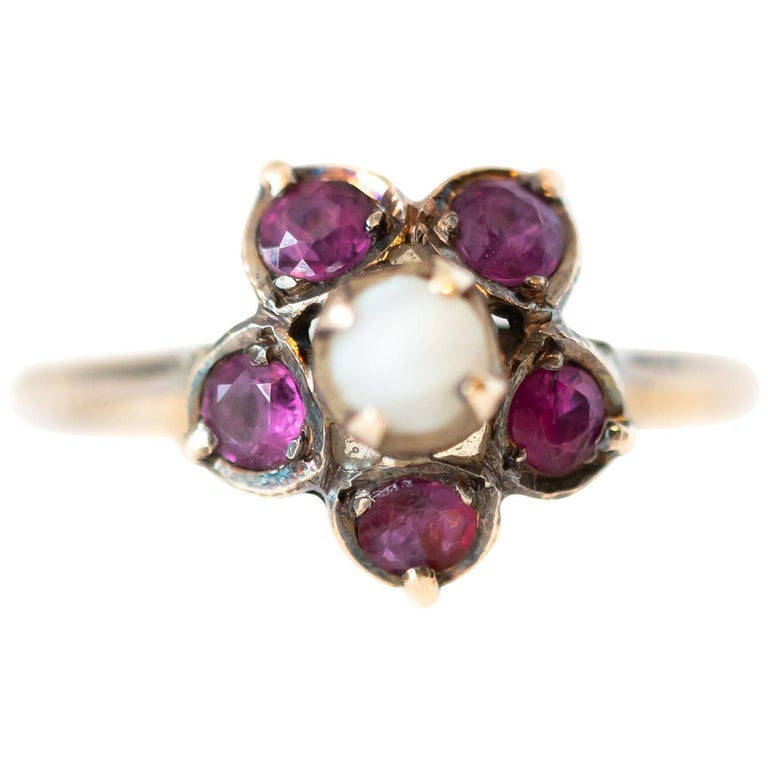 Antique Ruby and Pearl 18 Karat Yellow Gold Floral Ring For Sale