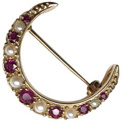 Antique Ruby and Pearl 9 Carat Gold Crescent Brooch