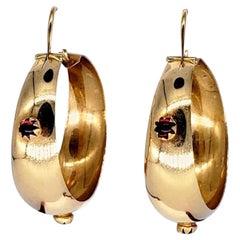 Antique Ruby Cabochon Hoop Earrings 18 Karat Gold