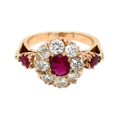 Antique Ruby Diamond Cluster Ring