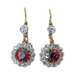 Antique Ruby Diamond Earrings, circa 1920