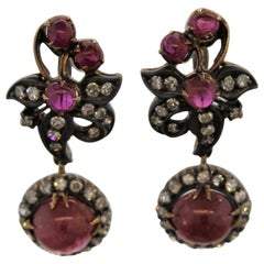Antique Ruby Diamond Gold and Silver-Topped Drop Earrings