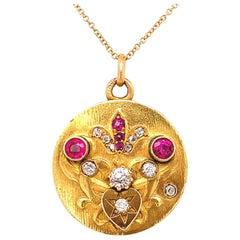 Antique Ruby Diamond Gold Locket