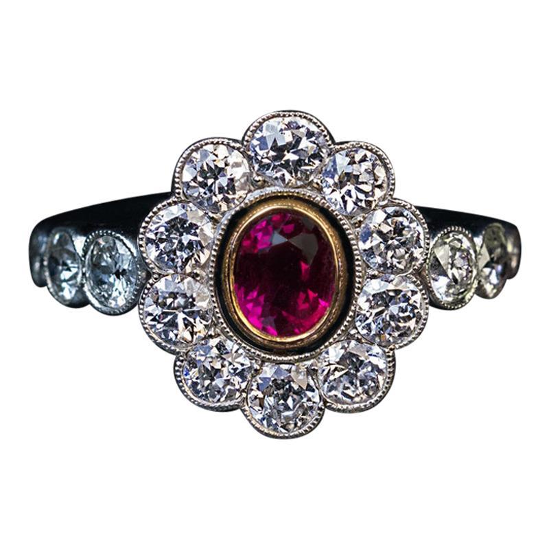 Antique Ruby Diamond Platinum Engagement Ring