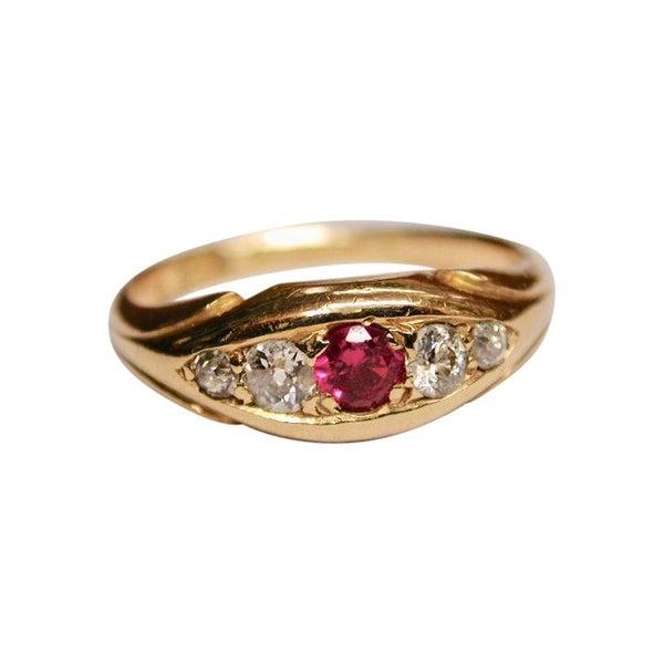 Antique Ruby & Diamond Ring in 18ct Gold,1906,Birmingham, Deakin & Francis