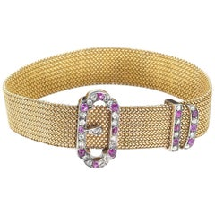 Antique Ruby Diamond Silver and Gold Buckle Bracelet, circa 1890