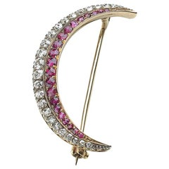 Antique Ruby, Diamond, Silver and Gold Crescent Brooch, circa 1890