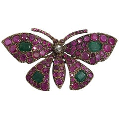 Antique Ruby, Emerald, Diamond Butterfly Brooch