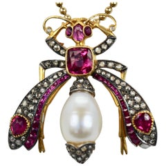 Antique Ruby Pearl Diamond Insect Brooch Pendant 18 Karat