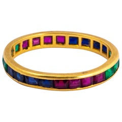 Antique Ruby, Sapphire and Emerald 18 Carat Gold Eternity Ring