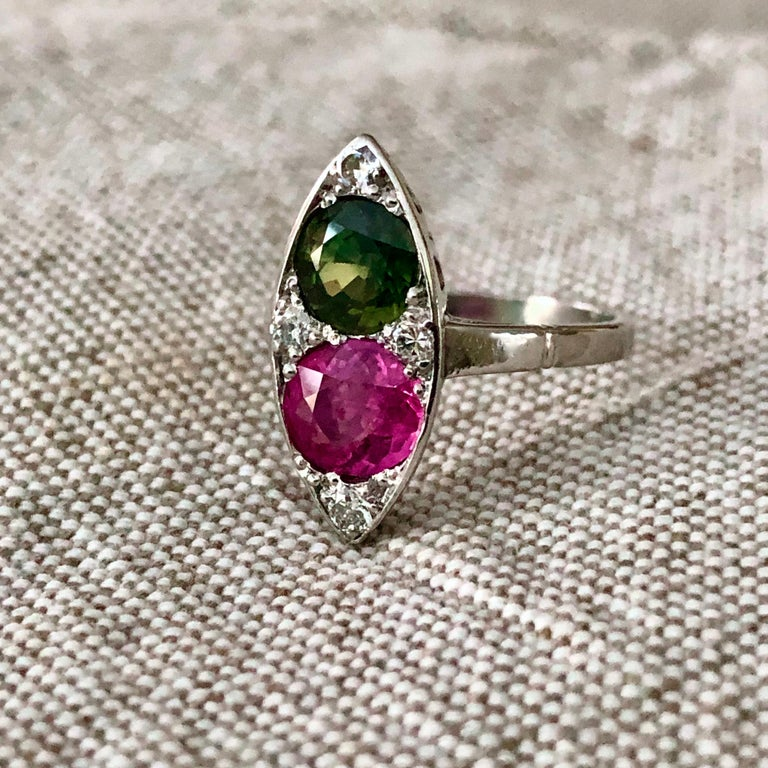 Art Deco Ruby and Sapphire Twin Platinum Ring Navette For Sale
