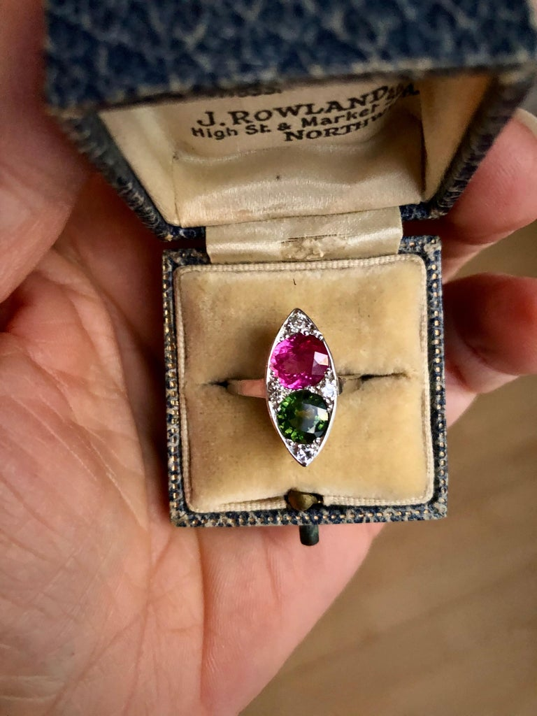 Women's Ruby and Sapphire Twin Platinum Ring Navette For Sale