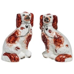 Antique Ruby Staffordshire Dogs