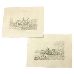 Antique Rudolph Ackermann 1851 Hunting Prints