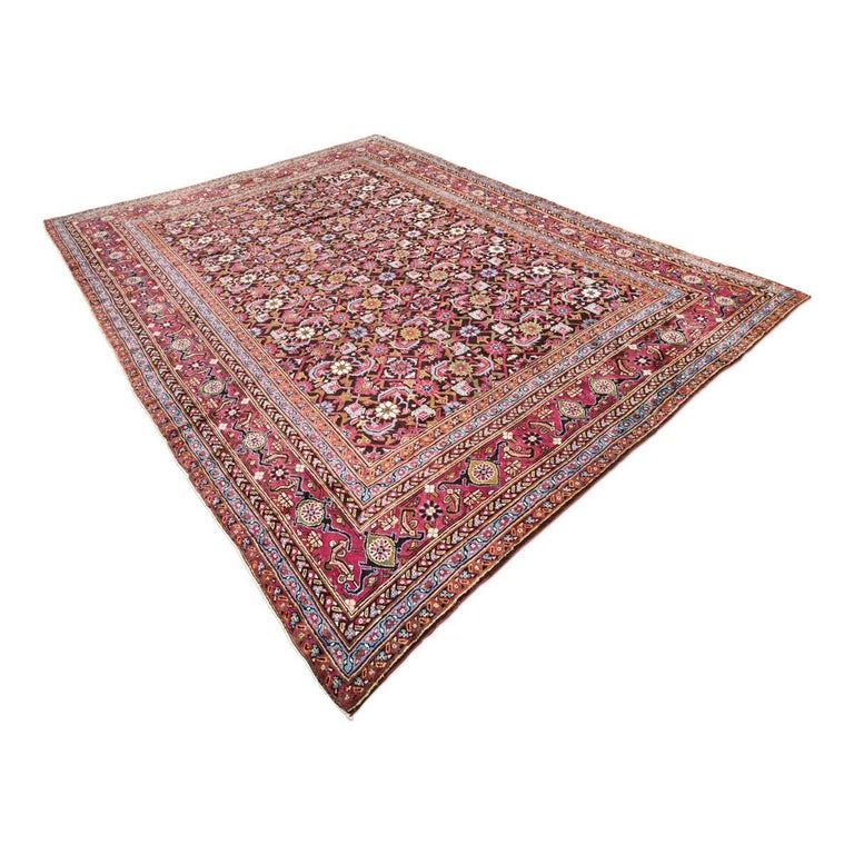 Indian Antique Rug, Agra from India Design of Palmettes, circa 1900 For Sale