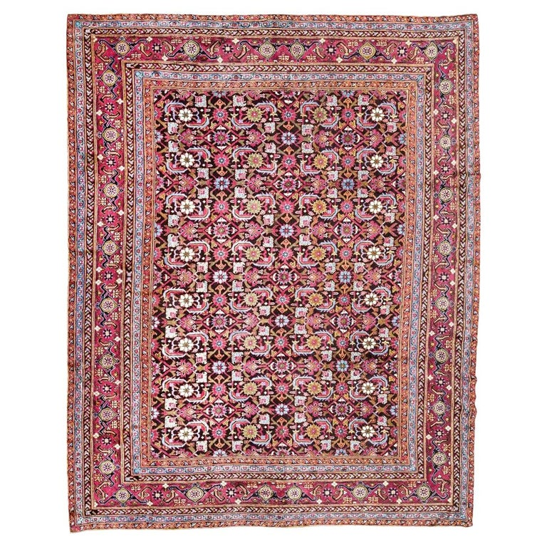 Antique Rug, Agra from India Design of Palmettes, circa 1900 For Sale