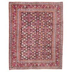 Antique Rug, Agra from India Design of Palmettes, circa 1900