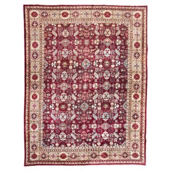 Antique Rug Agra from India. Geometric Palmettes and Flowers, circa 1900