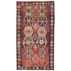 Antique Rug, Anatolian Turkish Kilim Rugs, Handmade Carpet Oriental Rug for Sale
