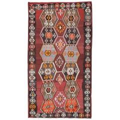 Antique Rug, Anatolian Turkish Kilim Rugs, Handmade Carpet Oriental Rug