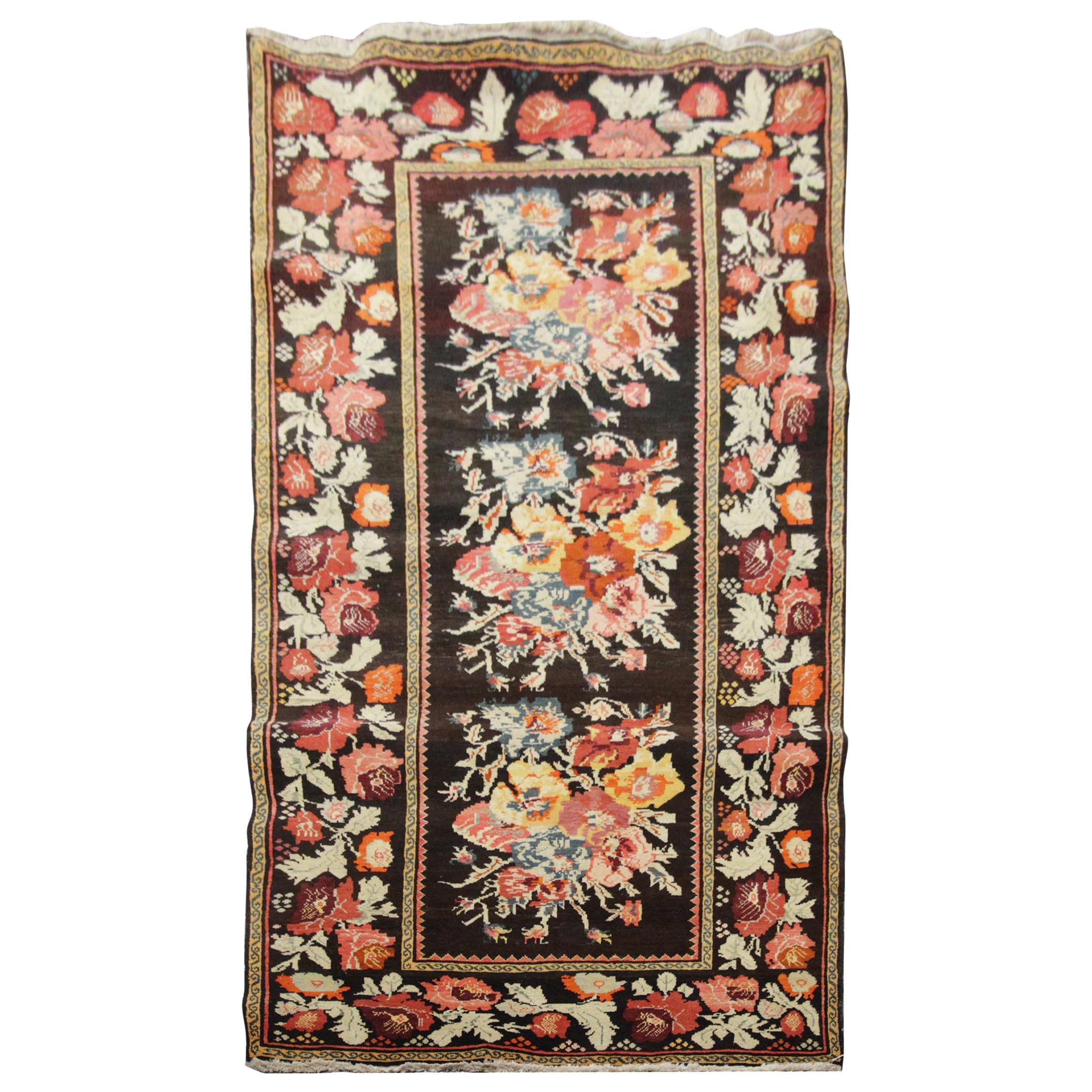 Antique Rug Caucasian Karabagh, Handmade Carpet Oriental Rug, Floral Area Rugs